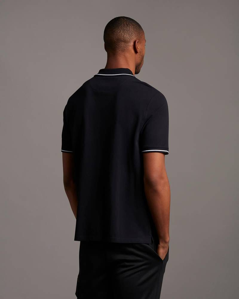 LYLE&SCOTT CASUALS  TIPPED POLO SHIRT JET BLACK