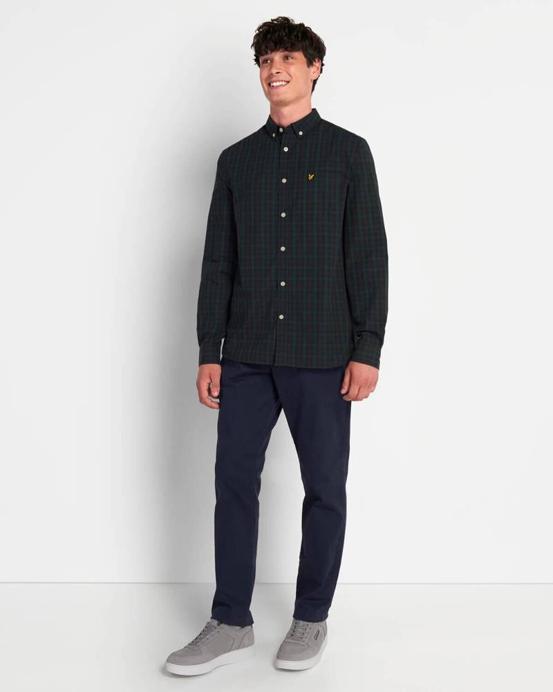 LYLE&SCOTT CHECK POPLIN SHIRT DARK NAVY/JADE GREEN CHECK