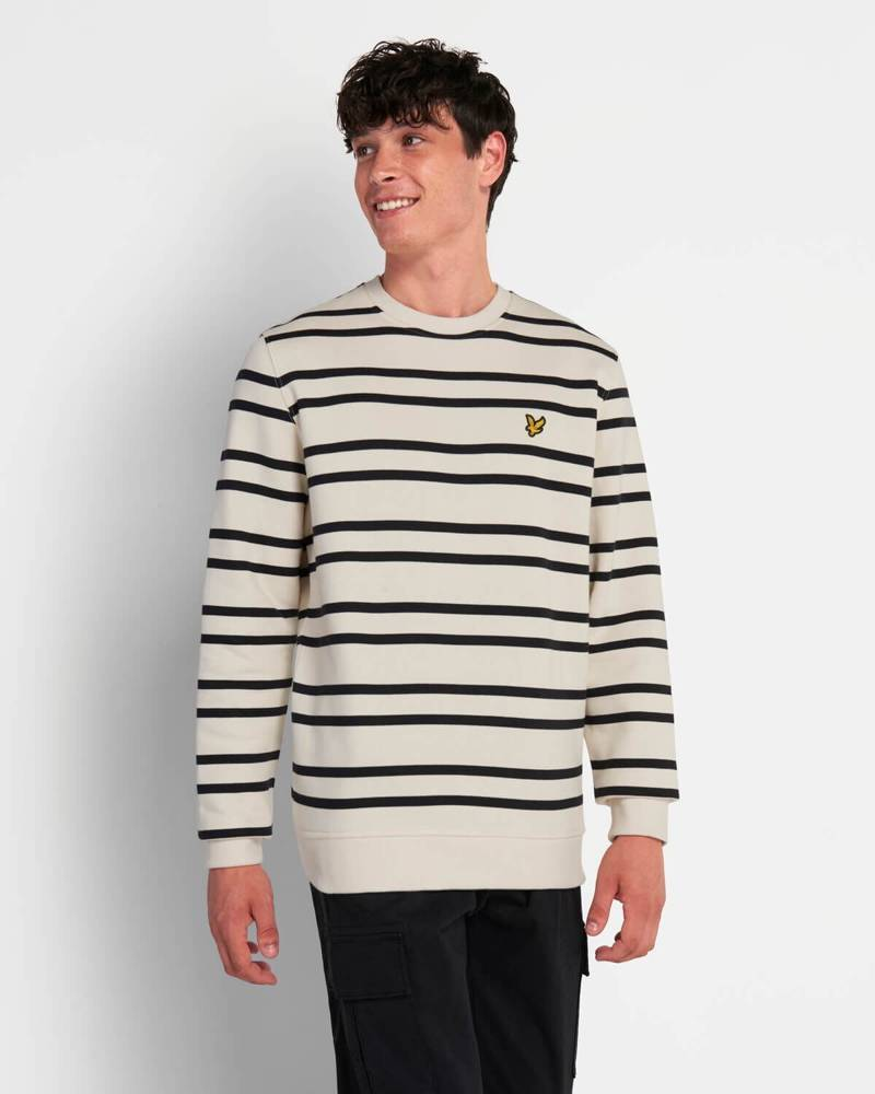 LYLE&SCOTT DOUBLE STRIPE SWEATSHIRT VANILLA ICE/ JET BLACK