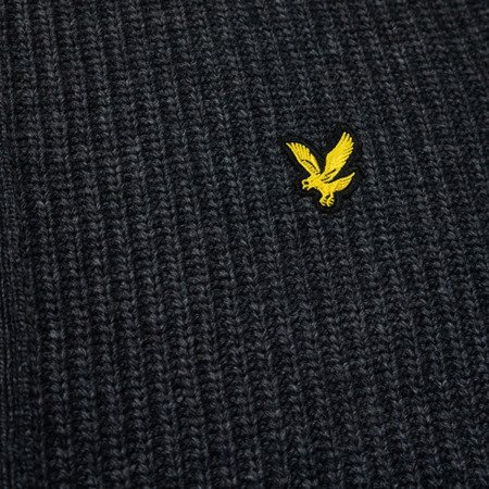 LYLE&SCOTT KNITTED ZIP THROUGH FUNNEL NECK CHARCOAL MARL