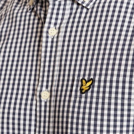 LYLE&SCOTT LS SLIM FIT GINGHAM SHIRT NAVY/WHITE